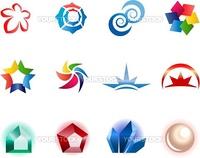 12 different colorful vector symbols: (set 1)