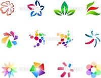 12 different colorful vector symbols: (set 3)
