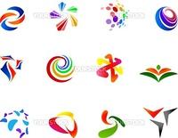 12 different colorful vector symbols: (set 7)