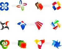 12 different colorful vector symbols: (set 9)