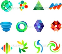 12 different colorful vector symbols: (set 18)