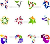 12 different colorful vector symbols: (set 15)