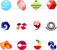 12 different colorful vector symbols: (set 22)