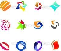 12 different colorful vector symbols: (set 24)