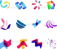 12 different colorful vector symbols: (set 27)