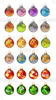 Different christmas glass balls with gold snowflakes