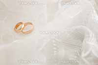 Wedding background with golden rings and veil