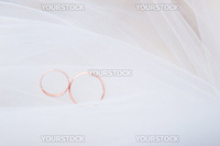 Two golden wedding rings on white veil
