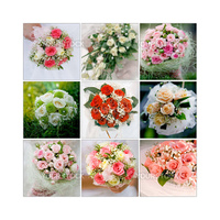 Collage made from nine photographs of wedding bouquets