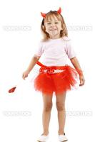 Funny girl in costume of little imp