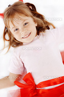 Funny playful happy child girl