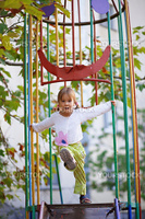 Active child playing on playground