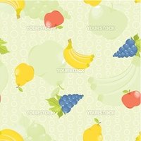 seamless background with cartoon fruit: apples, pears, grapes and bananas