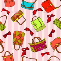 vector collection of woman's accessories. Seamless wallpaper.