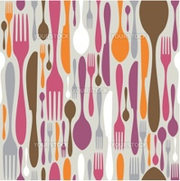 Silverware icons seamless pattern background. Fork, knife and spoon silhouettes on different sizes and colors. Vector avaliable.