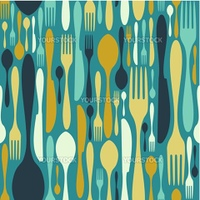 Cutlery icons seamless pattern background. Fork, knife and spoon silhouettes on different sizes and colors. Vector available.