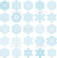 illustration, series of twenty-five original snowflakes
