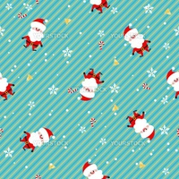 Seamless doodle Christmas pattern. Santa Claus, snowflakes and bells.