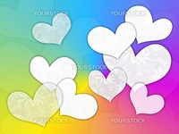 White hearts on a color background