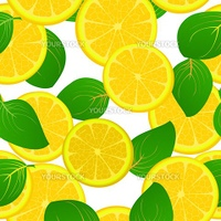 A seamless background with fresh lemon slices and leaves, pattern