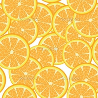 Seamless template of orange slices, pattern on white background