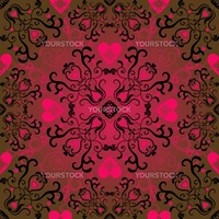 Seamless valentine pattern with vivid red hearts (vector)