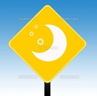 Hotel sign with moon and stars, isolated on graduated blue sky background.