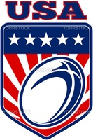 "illustration of a rugby ball with stars stripes and sunburst set inside shield with words ""USA"" united staes of america"