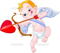 Illustration of a Valentine's Day cupid ready to shoot his arrow