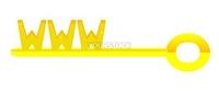 Golden key with symbol www