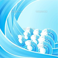 Vector illustration of retro water waves spiraling backwards with stylized white splashes. Lined art background.