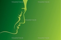 Lineart profile of mature man on green background