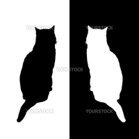 black and white cat silhouettes, vector illustration