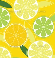Citrus texture background with slices of lemon, lime and orange. Vector stylized background.