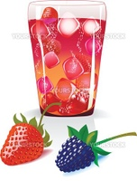 vector illustration of fruite with cold juice