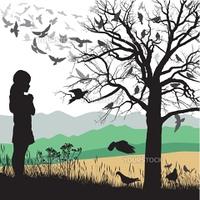 Illustrations child looks at a tree full of birds
