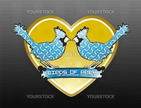 Vector illustration of two loving birds with curly patterns, a banner for custom text and a golden heart background.