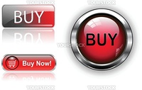 Three different buy icon button red, vector illustration.