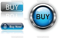 Three different buy icon button blue, vector illustration.