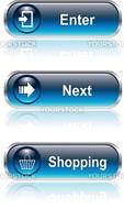 Web button, icon set: enter next buy, vector illustration