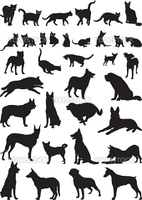 Vector illustrations of domestic cats and dogs