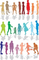 Boys and girls twenty-two color silhouettes, vector illustration