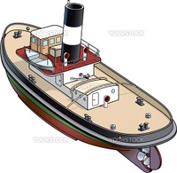 Isometric vector illustration of a tugboat from Falmouth - 1930