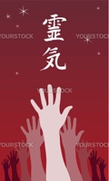 A group of raised hands with Reiki symbol over them. Vector avaliable