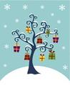 タイトル:Christmas Tree with hanging gift boxes on a winter background. Vector illustration