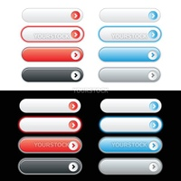 Red and Blue web button set with rollover options. Easy to change colors.