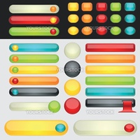 Colorful web button set. Global swatches included. Easy to change colors.
