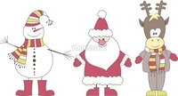 Christmas card with Santa, Reindeer, snow man. Vector illustration