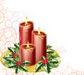 タイトル:christmas candles and holly with an abstract festive background