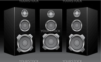 The black 3d speakers on the black background